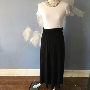 Mossimo // Black Stretchy Fold Over Maxi Skirt S
